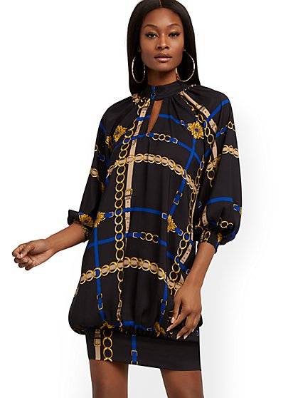 Belt-Print Tunic Dress - New York & Company