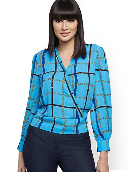Belt-Print Wrap Blouse - 7th Avenue - New York & Company