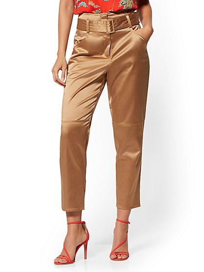 Belted Ankle Pant - Tan - 7th Avenue - New York & Company