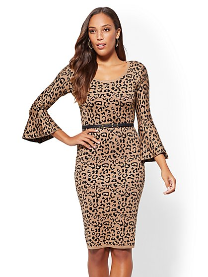 Belted Bell-Sleeve Leopard Sheath Sweater Dress - New York & Company