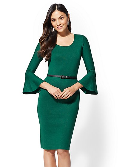 Belted Bell-Sleeve Sheath Sweater Dress - New York & Company
