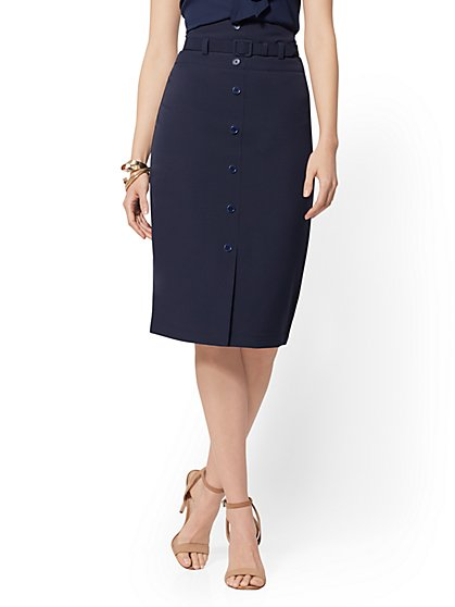 Belted Button-Front Pencil Skirt - 7th Avenue - New York & Company
