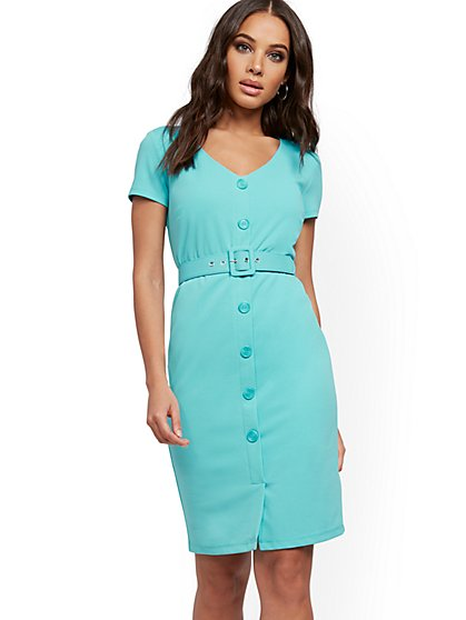 Belted Cap-Sleeve Sheath Dress - Magic Crepe® - New York & Company