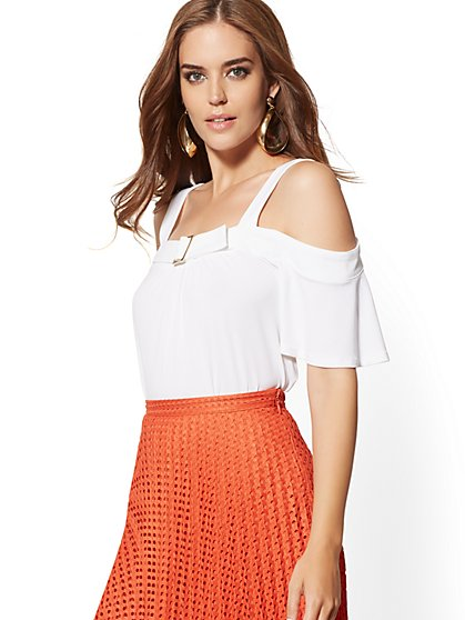 Belted Cold-Shoulder Top - 7th Avenue - New York & Company