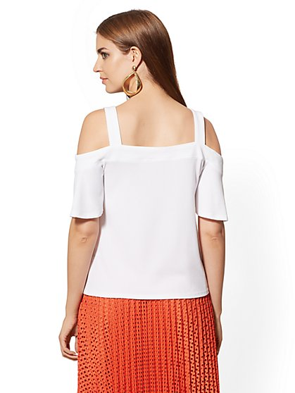 cf36c36c87e936 ... Belted Cold-Shoulder Top - 7th Avenue - New York & Company