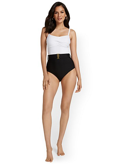 Belted Convertible One-Piece Swimsuit - NY&C Swimwear - New York & Company