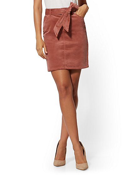 Belted Corduroy Pencil Skirt - New York & Company