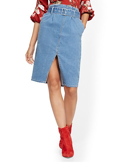 Belted Denim Pencil Skirt - Blue Heart - New York & Company