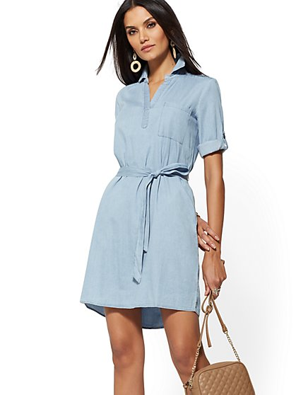 50a2432e93 Belted Denim Shirtdress - New York   Company ...