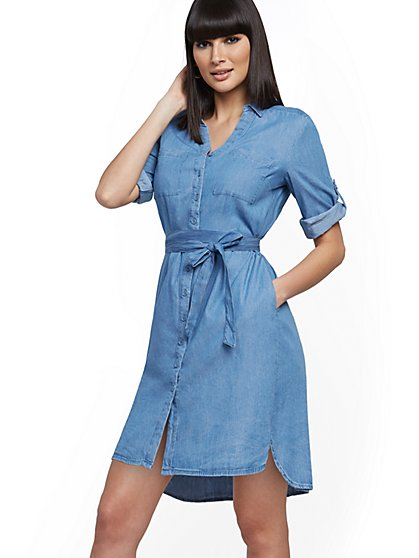 Belted Denim Shirtdress - New York & Company