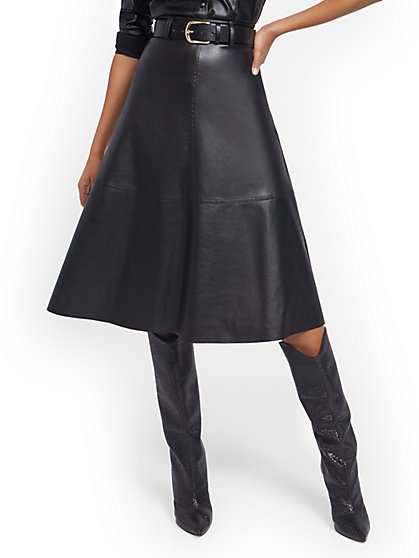 Belted Faux-Leather A-Line Skirt - New York & Company