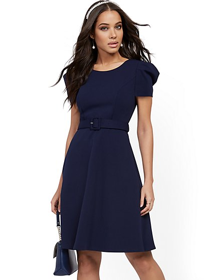 Belted Fit and Flare Dress - Magic Crepe® - New York & Company