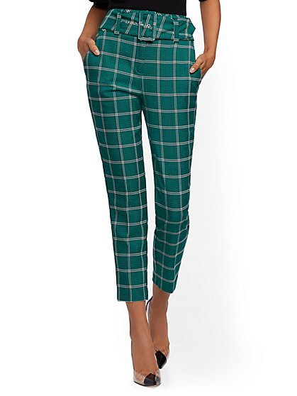 Belted High-Waisted Ankle Pant - Plaid - 7th Avenue - New York & Company