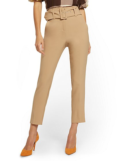 Belted High-Waisted Slim Pant - 7th Avenue - New York & Company