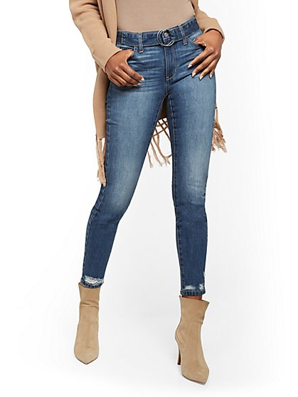 Belted High-Waisted Super Skinny Jeans - Medium Blue - New York & Company