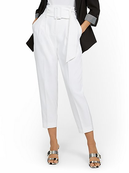 Belted High-Waisted Tapered Pant - New York & Company