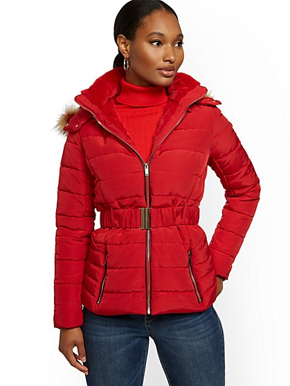 Belted & Hooded Puffer Jacket - New York & Company