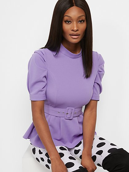 Belted Mock-Neck Peplum Top - New York & Company