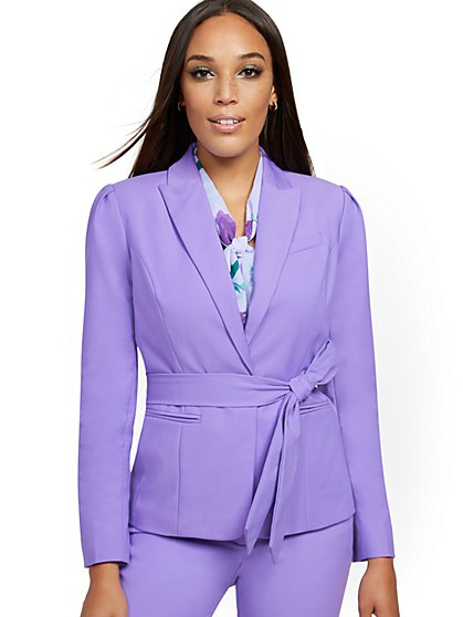 Belted One-Button Jacket - All-Season Stretch - 7th Avenue - New York & Company