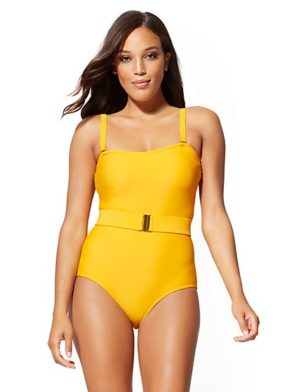 Belted One-Piece Swimsuit - NY&C Swimwear - New York & Company