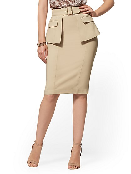 Belted Overlay Pencil Skirt - All-Season Stretch - New York & Company