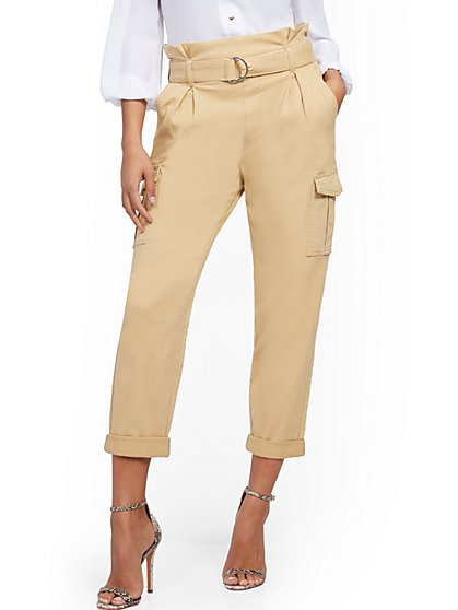 Belted Paperbag-Waist Cargo Pant - New York & Company