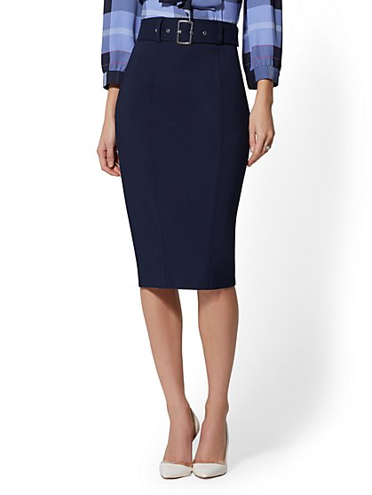 Belted Pencil Skirt - All-Season Stretch - 7th Avenue - New York & Company