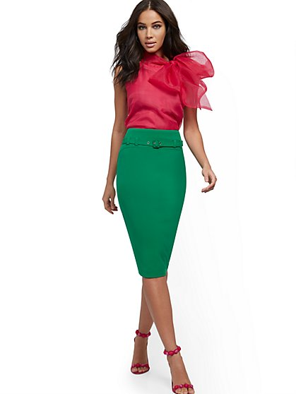 Belted Pencil Skirt - Double Stretch - 7th Avenue - New York & Company