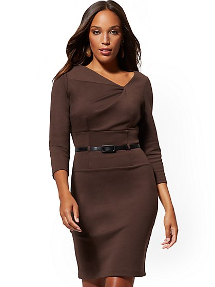Belted Pleated Sheath Dress - Ponte - New York & Company