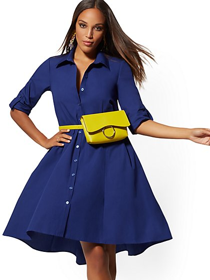 Belted Poplin Shirtdress - New York & Company