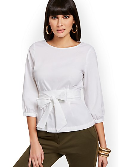 Belted Poplin Tunic Shirt - 7th Avenue - New York & Company