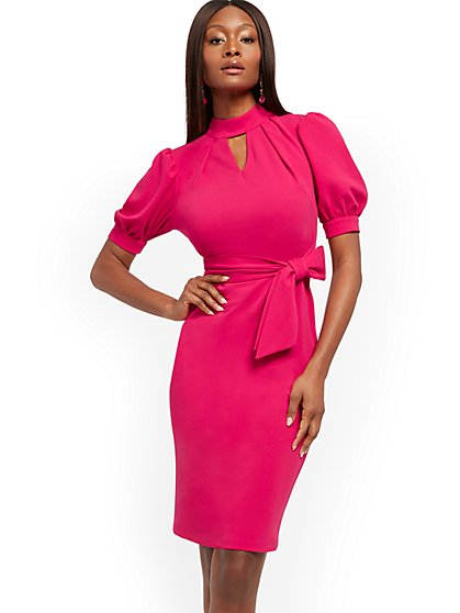 Belted Puff-Sleeve Mock-Neck Dress - New York & Company