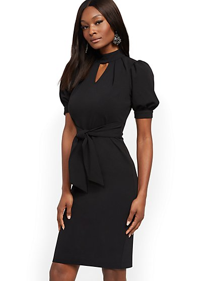Belted Puff-Sleeve Mockneck Dress - New York & Company