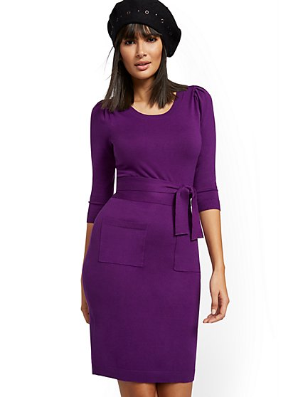 Belted Puff Sleeve Sweater Dress - New York & Company