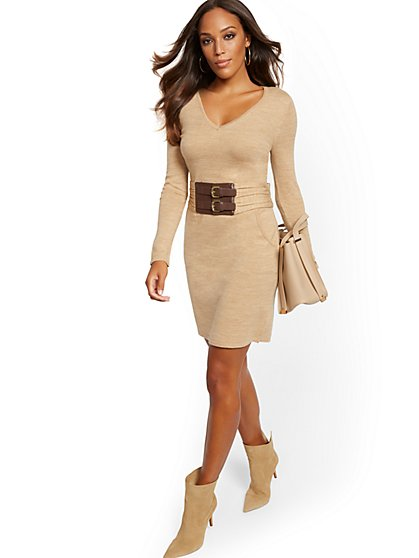 Belted Sheath Sweater Dress - New York & Company