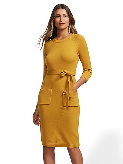 Belted Sweater Dress - New York & Company