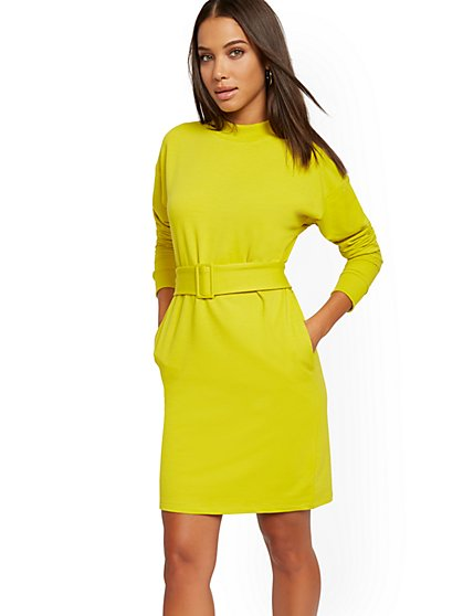 Belted Sweatshirt Dress - New York & Company