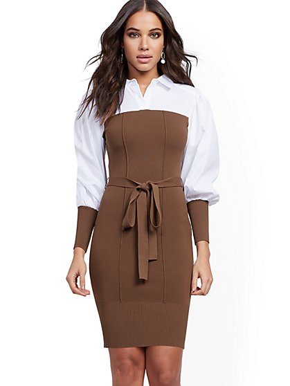 Belted Twofer Sweater Dress - New York & Company