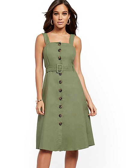 Belted Utility A-Line Dress - New York & Company