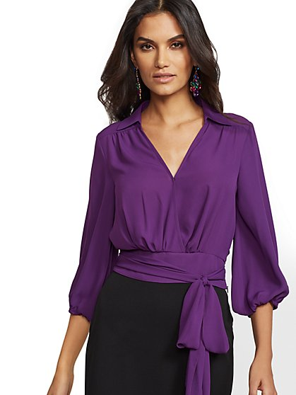 Belted Wrap Blouse - New York & Company