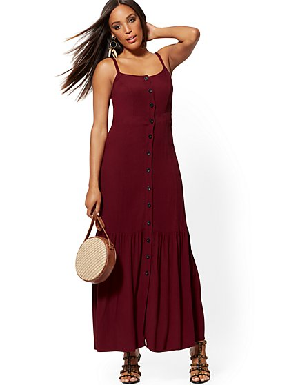 Berry-Red Button-Front Maxi Dress - New York & Company