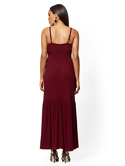 89c65e218cb ... Berry-Red Button-Front Maxi Dress - New York   Company
