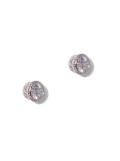Bezel-Set Cubic Zirconia Sterling Silver Crown Post Earring - New York & Company
