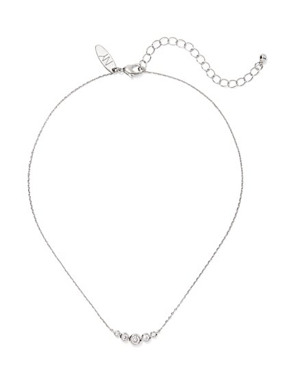 Bezel-Set Pave Silvertone Necklace - New York & Company