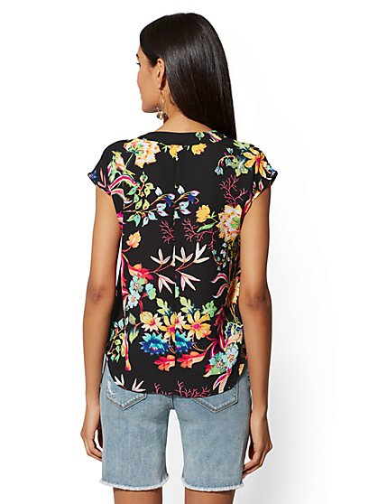 7a02ea592ff ... Bird   Floral Tie-Front Wrap Blouse - Soho Soft Shirt - New York