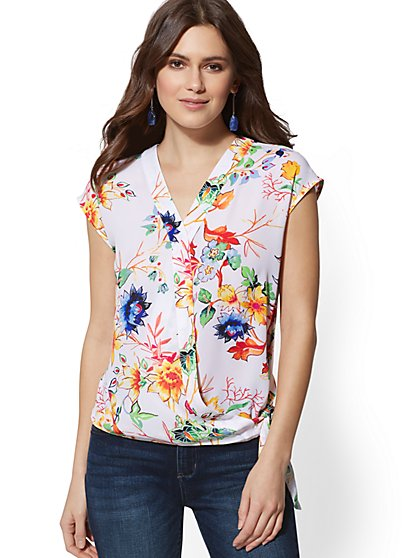 Bird & Floral Tie-Front Wrap Blouse - Soho Soft Shirt - New York & Company