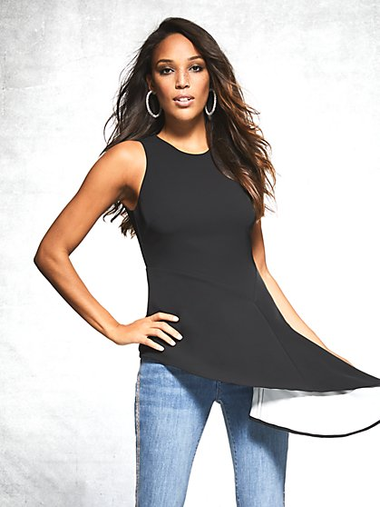 Black Asymmetrical-Hem Top - Gabrielle Union Collection - New York & Company