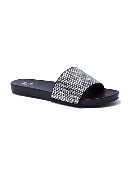 Black Beaded Pool Slide Sandal - New York & Company