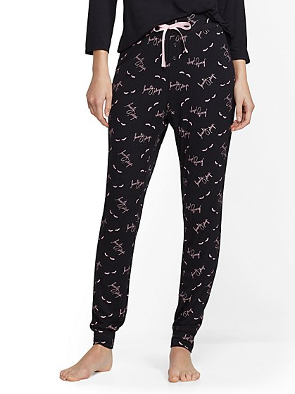 "Black ""Beauty Sleep"" Pajama Pant - New York & Company"