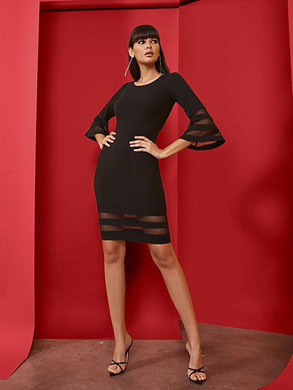 Black Bell-Sleeve Sheath Dress - Magic Crepe® - New York & Company